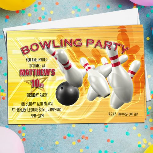 10 Personalised Tenpin Bowling Birthday Party Invitations N1